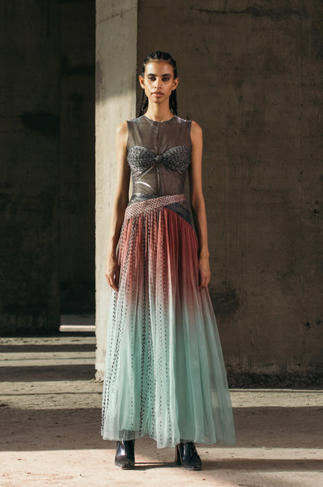 Hand-Embroidered Shimmer Lurex Bodysuit + Gradient Gathered Organza Skirt