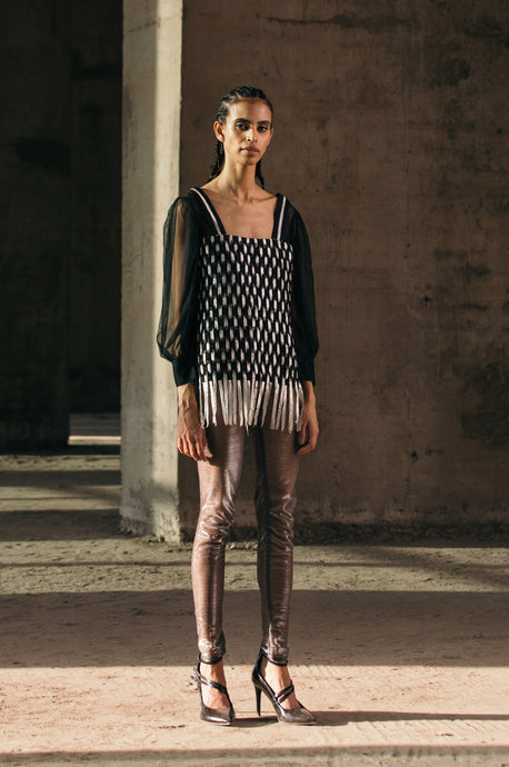 Handwoven Sleeved Lurex Top + Shimmer Lurex Leggings