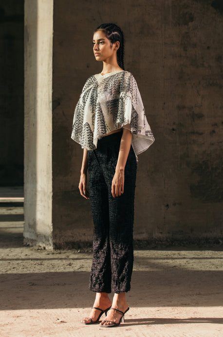 Embroidered Glass & Fringes Poncho + Tailored Tape Embroidered Trousers