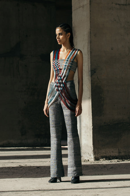 Interwoven Glass & Lurex Top + Hand-Embroidered Textured Trousers