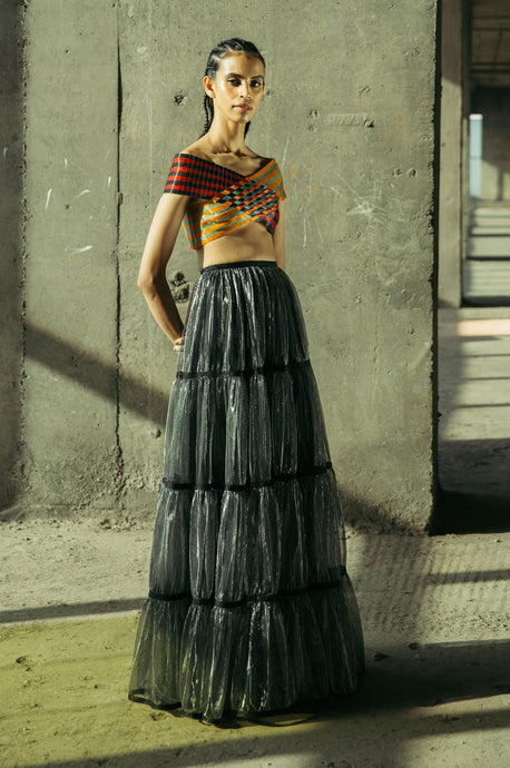 Glass Weave Bustier + Tiered Lurex Gathered Skirt