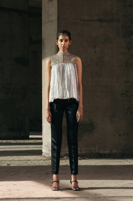Silk-Organza Gathered Top + Pencil Crepe Trousers