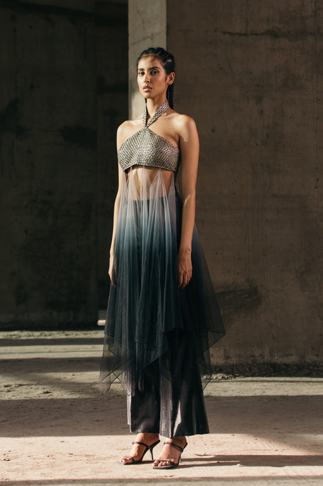 Hand-Embroidered Halter Top with Tulle Gradient Drape + Shimmer Lurex Flared Trousers