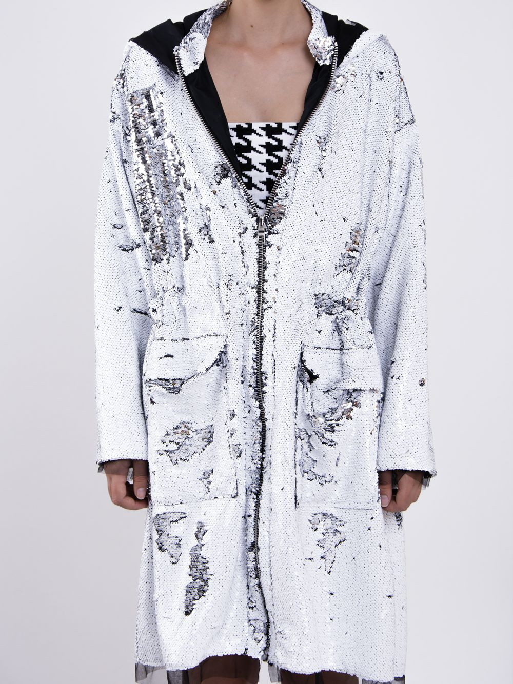 Sequined Hooded Parka
