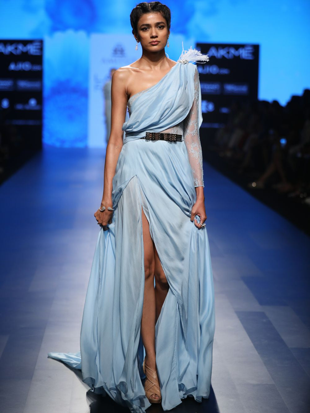 Light Blue Chiffon Saree Gown