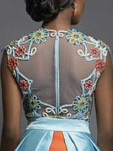 Hand Beaded Bodysuit & Inlay Skirt