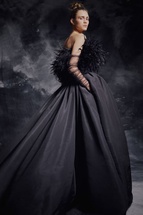 Ostrich Feather Couture Gown