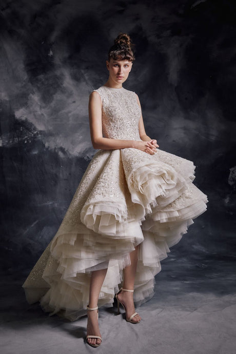 Asymmetrical Ivory & Gold Couture Dress