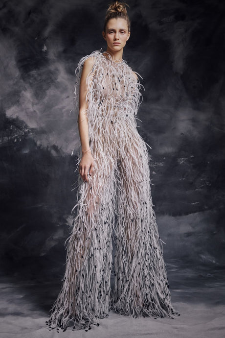 Ostrich Feather Couture Jumpsuit