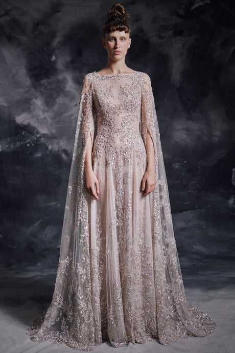 Embroidered Couture Dress & Cape