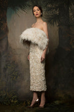 Ostrich Feather Strapless Couture Dress
