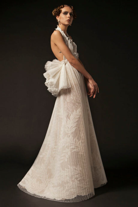 Pleated Ivory Couture Dress