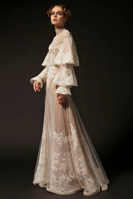 Embroidered White Opal Couture Gown