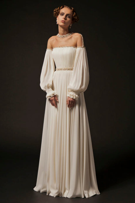 Hand Pleated Ivory Couture Gown