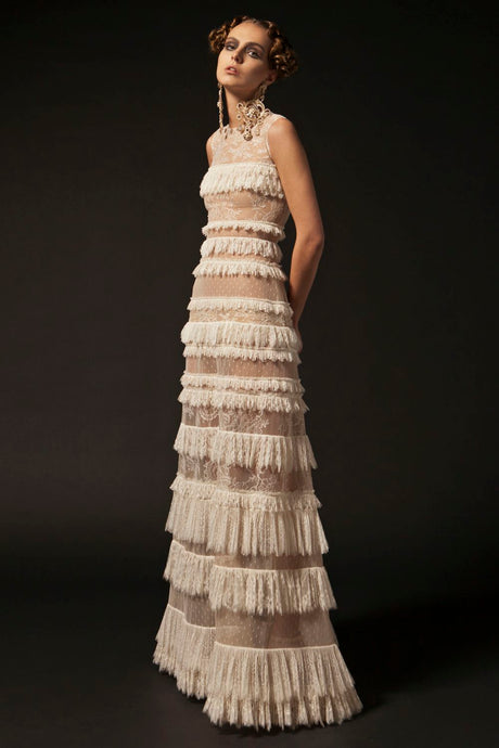 Layered Ivory Couture gown