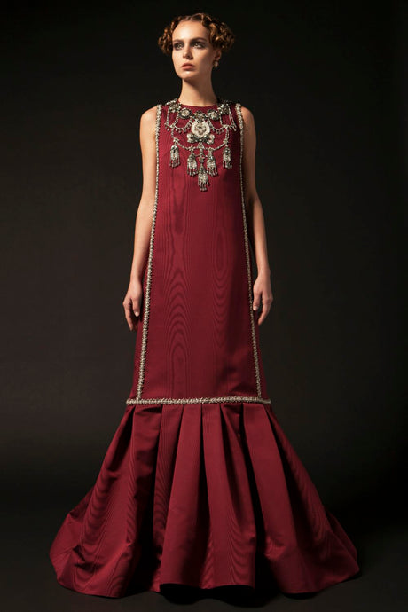 Embroidered Burgundy Couture Dress