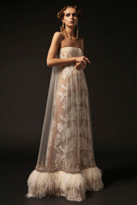 Strapless Lace Couture Gown