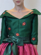 Green Top & Fuchsia Skirt