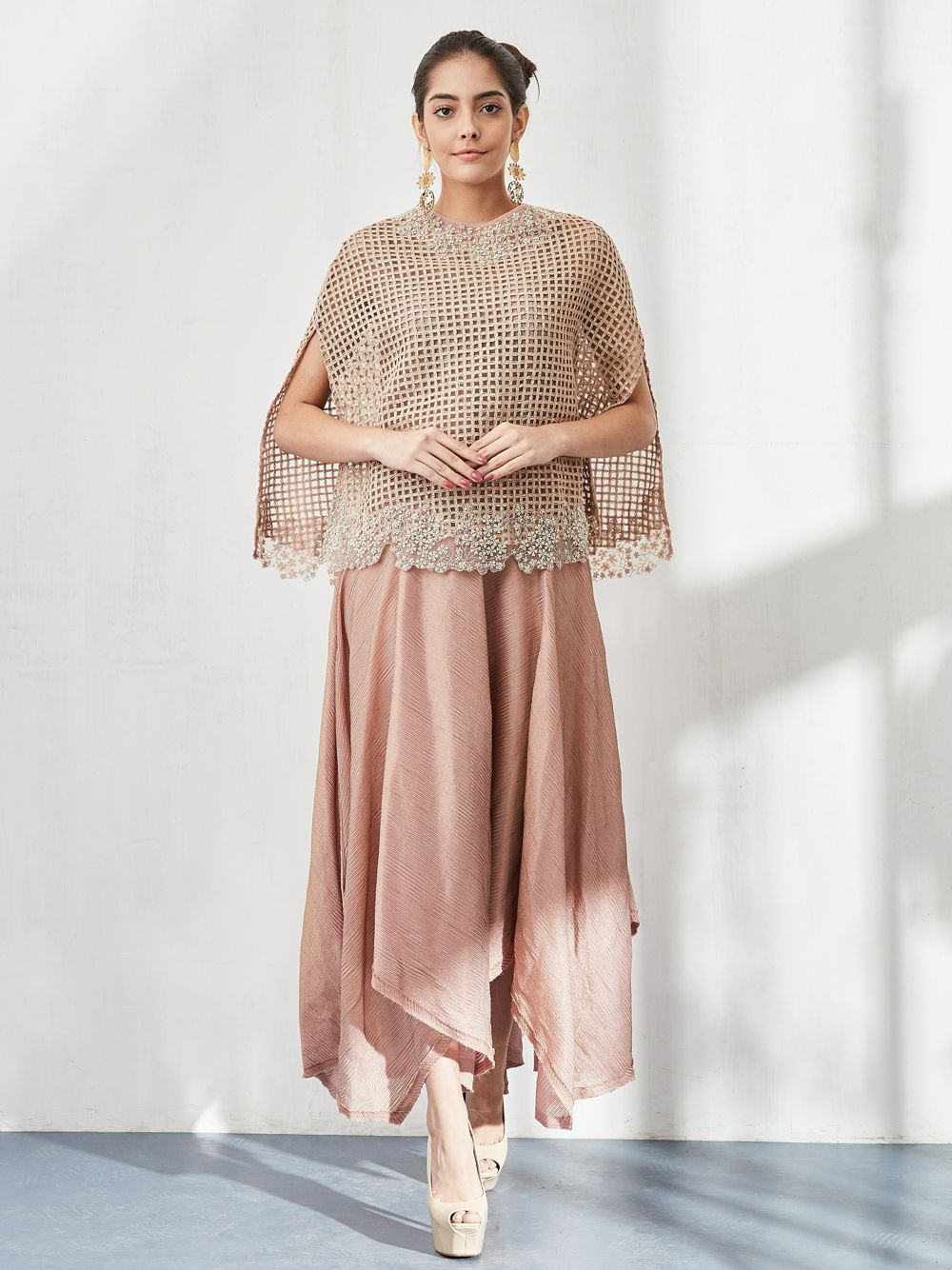 Nude Pink Cape Set with Dress