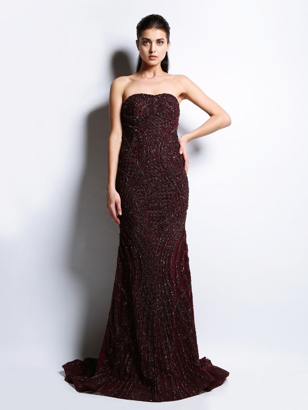 Full Sleeve Embroidered Gown Shantel