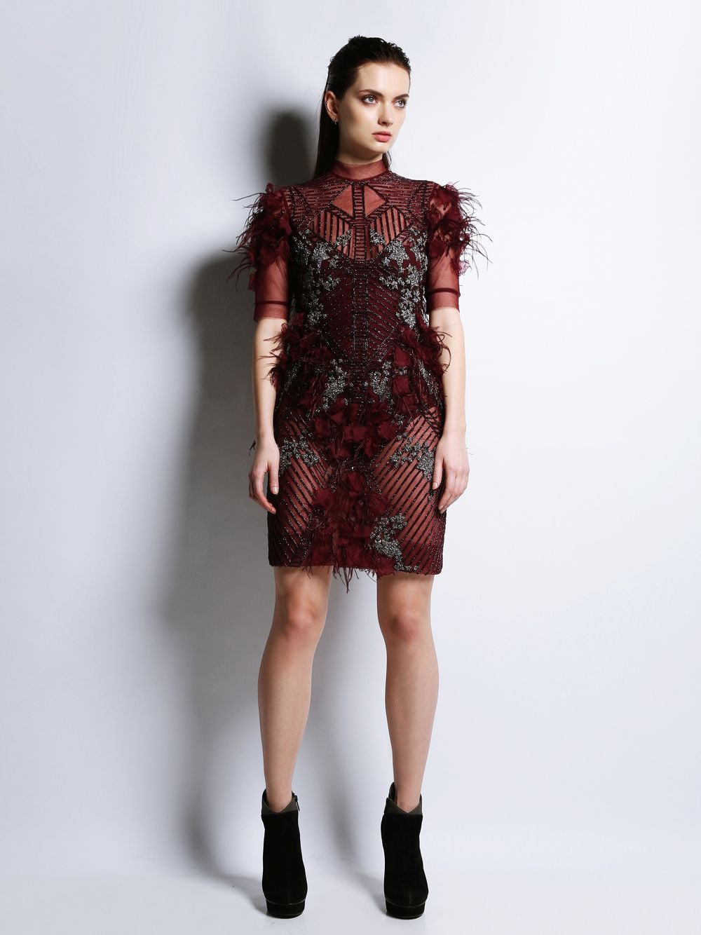 Half Sleeve Embroidered Short Dress Georgina