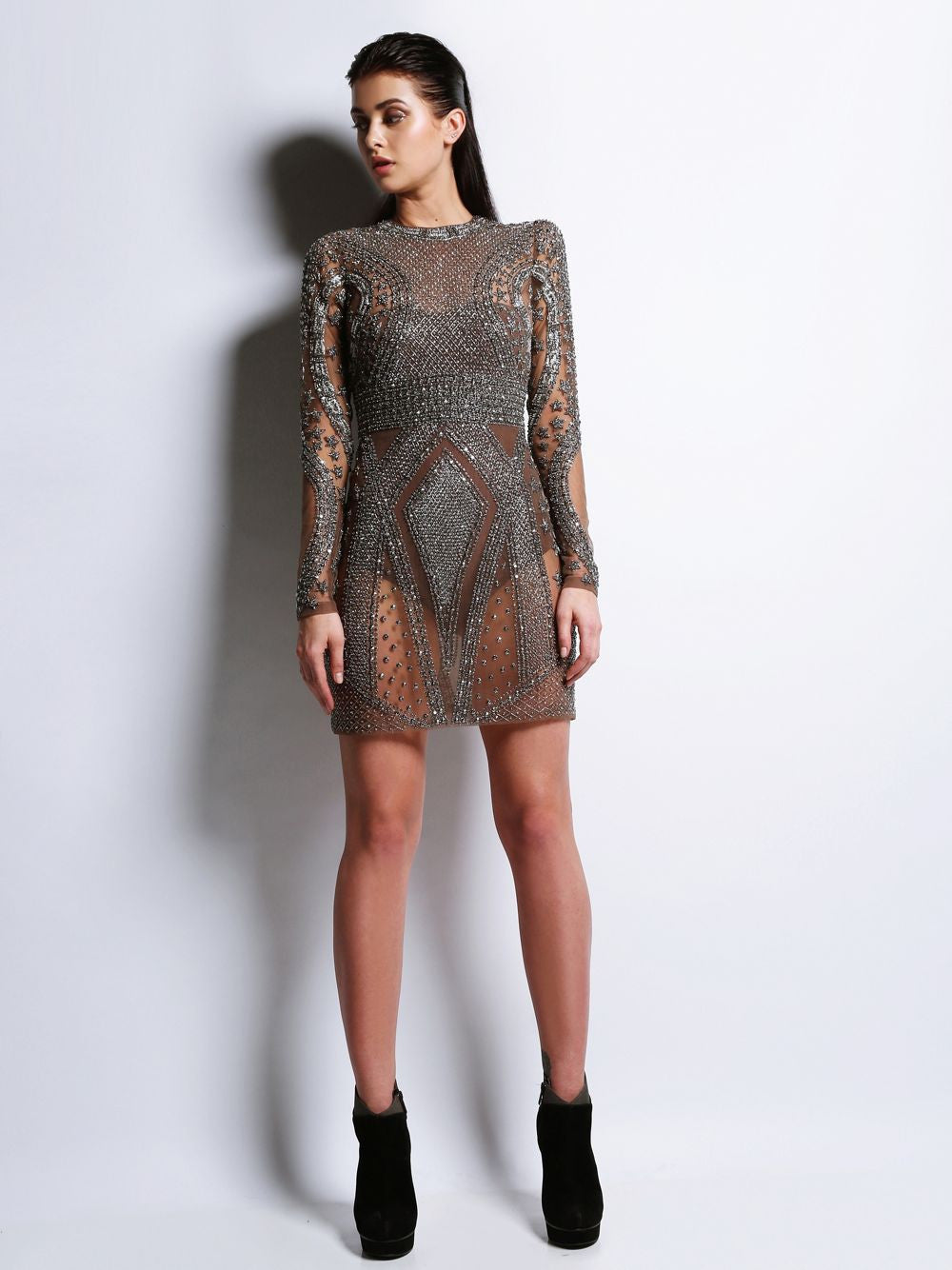 Full Sleeve Embroidered Short Dress Maddina
