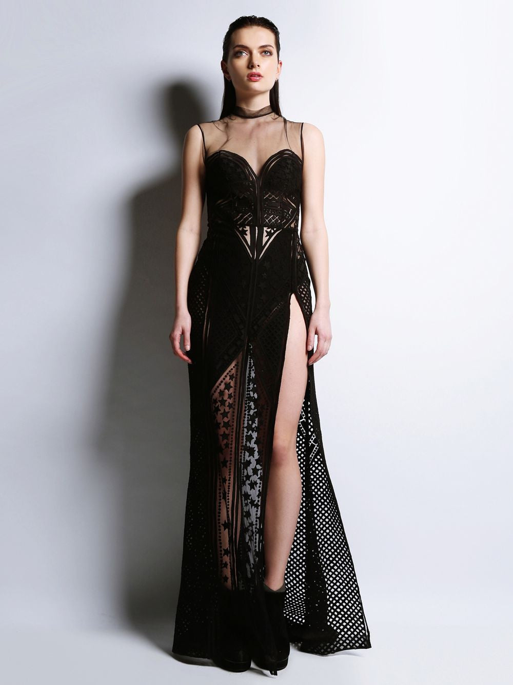 Sleeveless Embroidered Gown Roseline