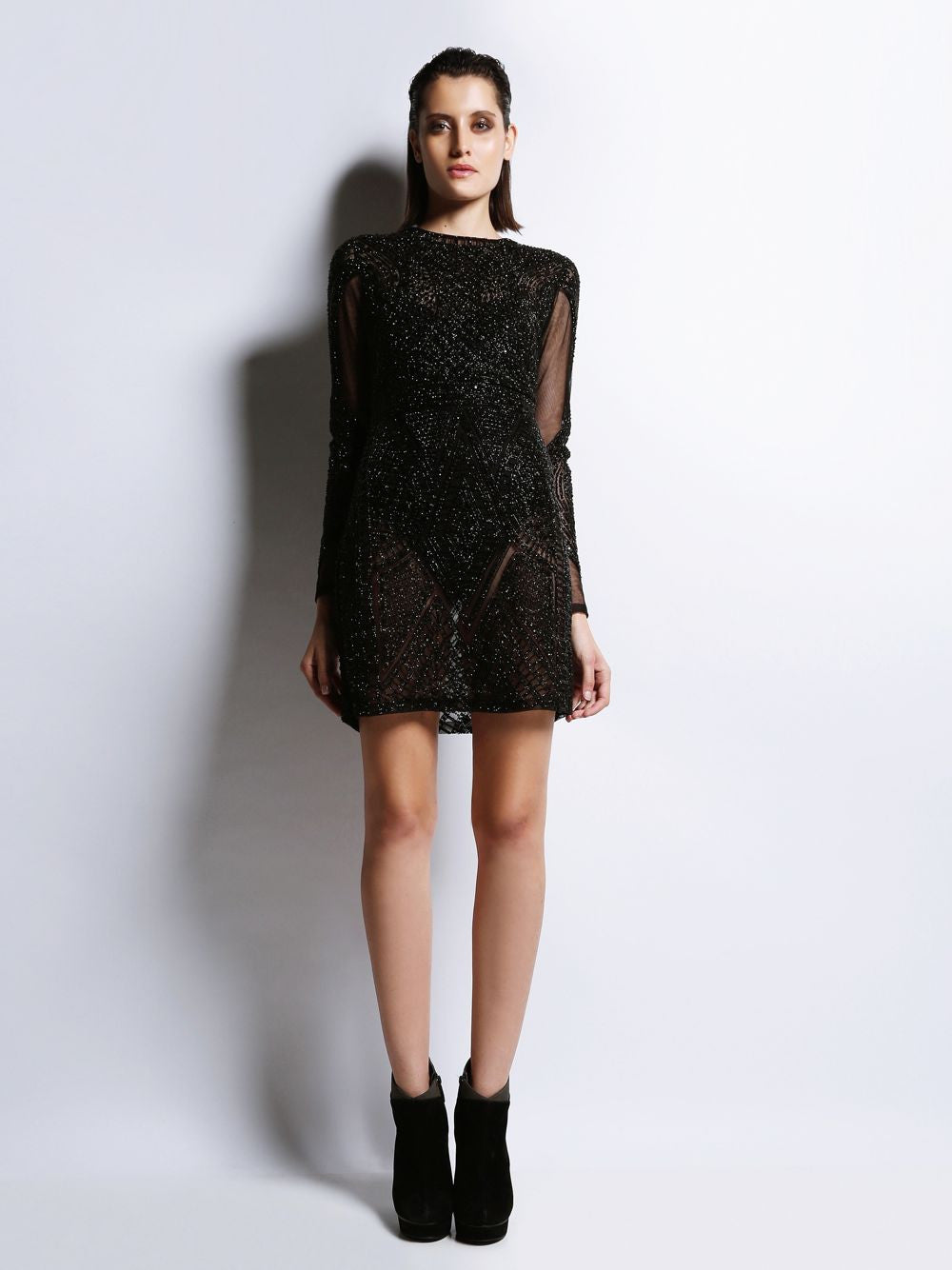 Full Sleeve Embroidered Short Dress Bianca