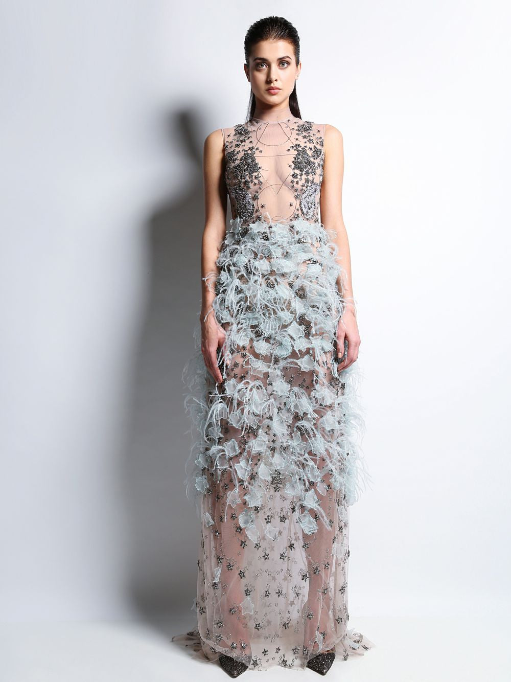 Sleeveless Embroidered Gown Rebecca