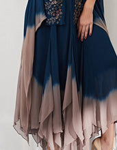 Navy Blue Cape Set with Dress