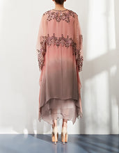 Pink Shaded Dress with Cape