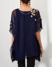Navy Embroidered Poncho Top