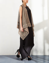Textured Cape with Pleated Draped Dress