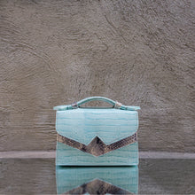 Aquamarine Crocodile Print Handbag