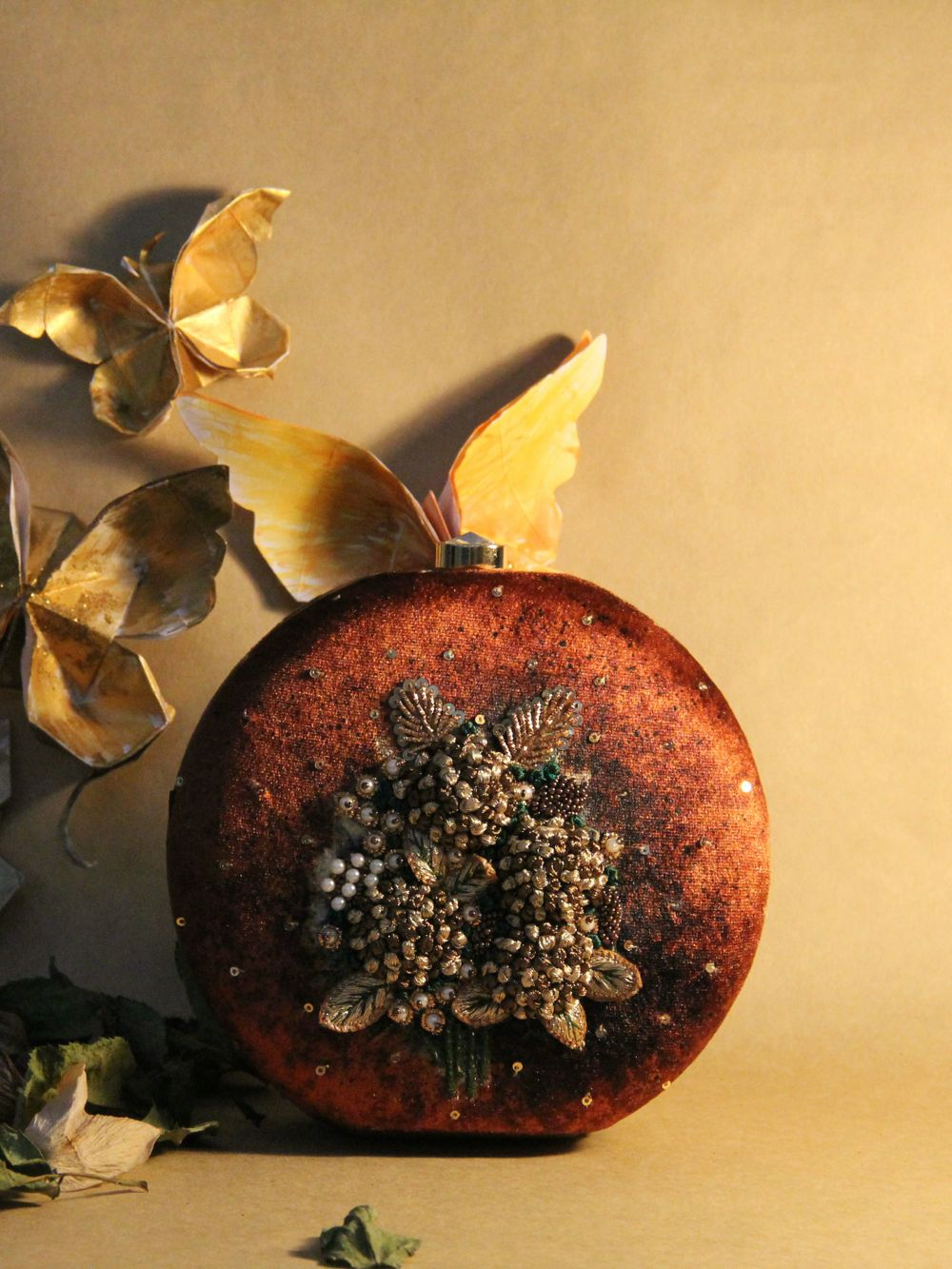 Brown & Gold Hydrangea Clutch
