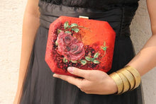 Maroon Rose Clutch