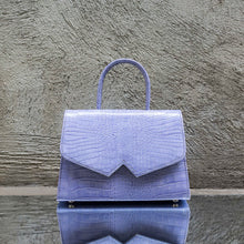 Pigeon Blue Crocodile Print Leather Handbag