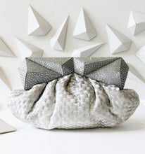 Handwoven Silver-Grey Clutch