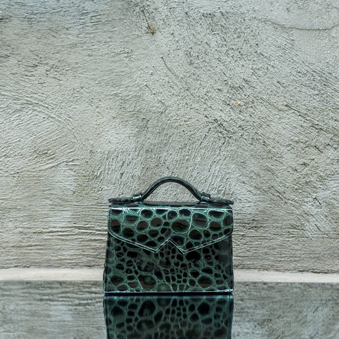 Green Pebbled Printed Leather Mini Handbag