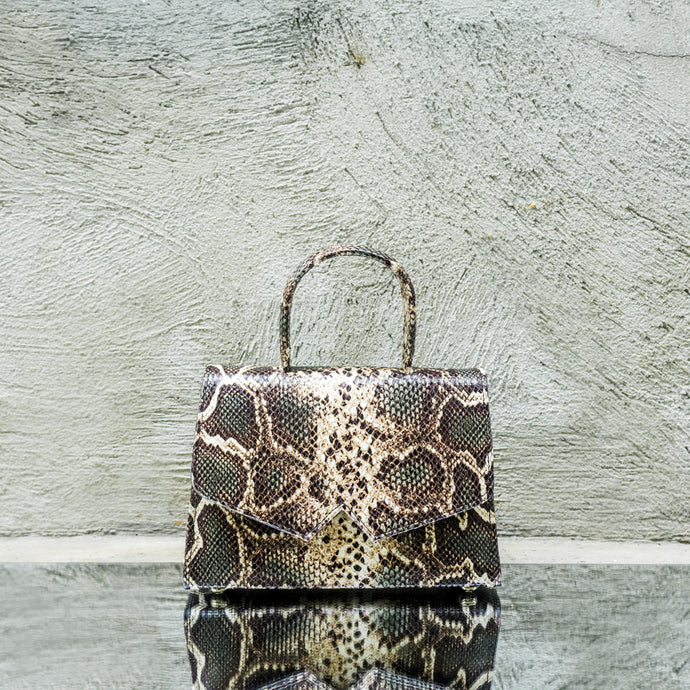Olive Green Python Print Leather Handbag