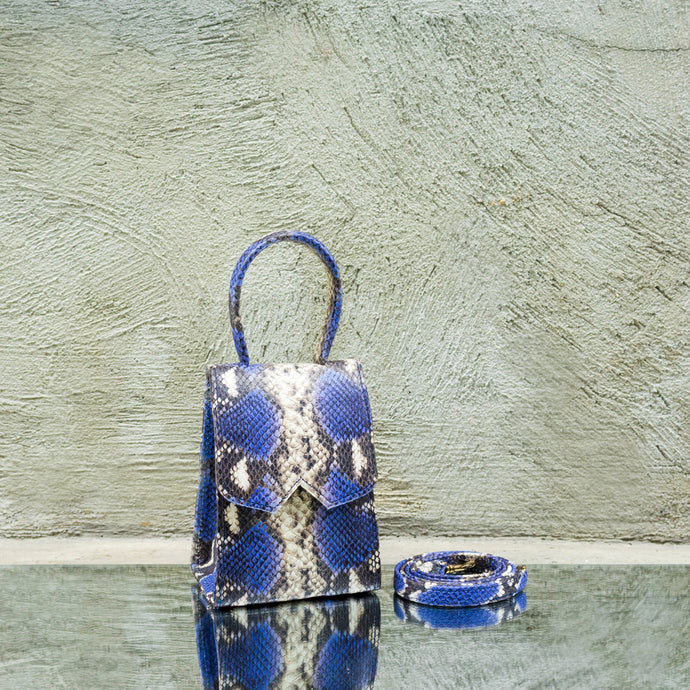 Egyptian Blue Python Print Mini Bag
