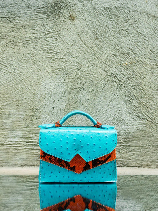 Turqoise Blue Ostrich Print Leather Mini Bag