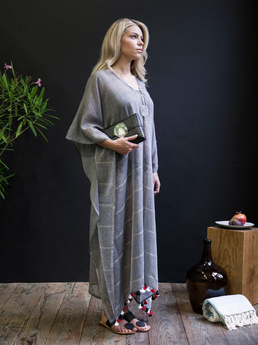 Handwoven Caftan With Pom-Poms