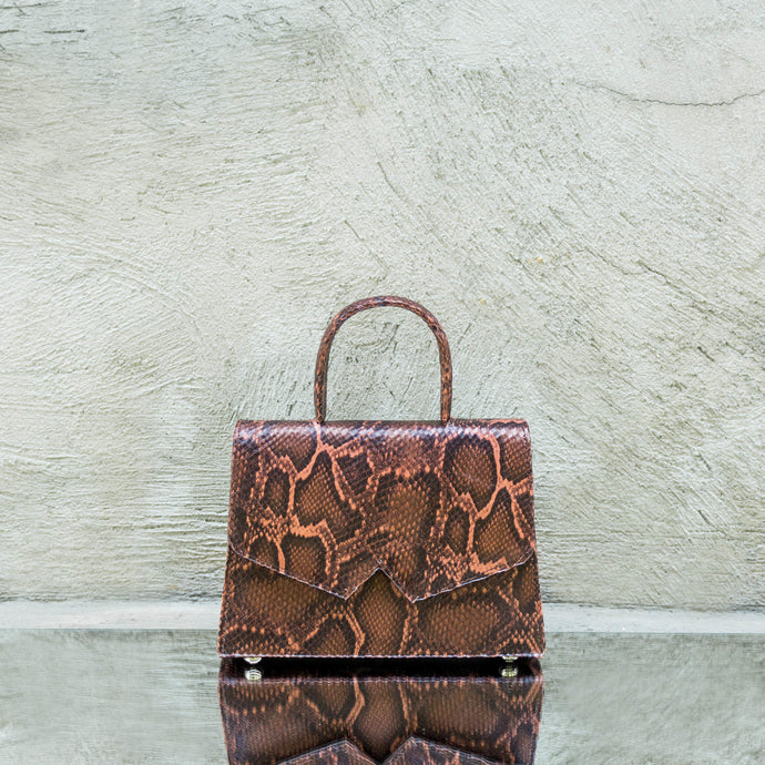 Cinammon Snake Print Leather Handbag