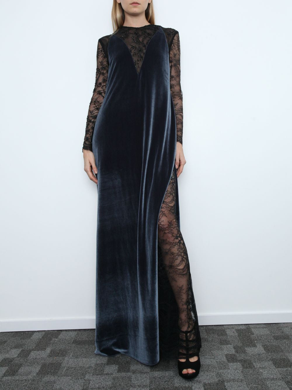 Embellished Lace And Velvet Gown