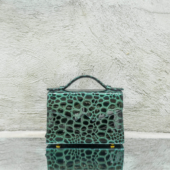 Green Pebbled Printed Leather Handbag