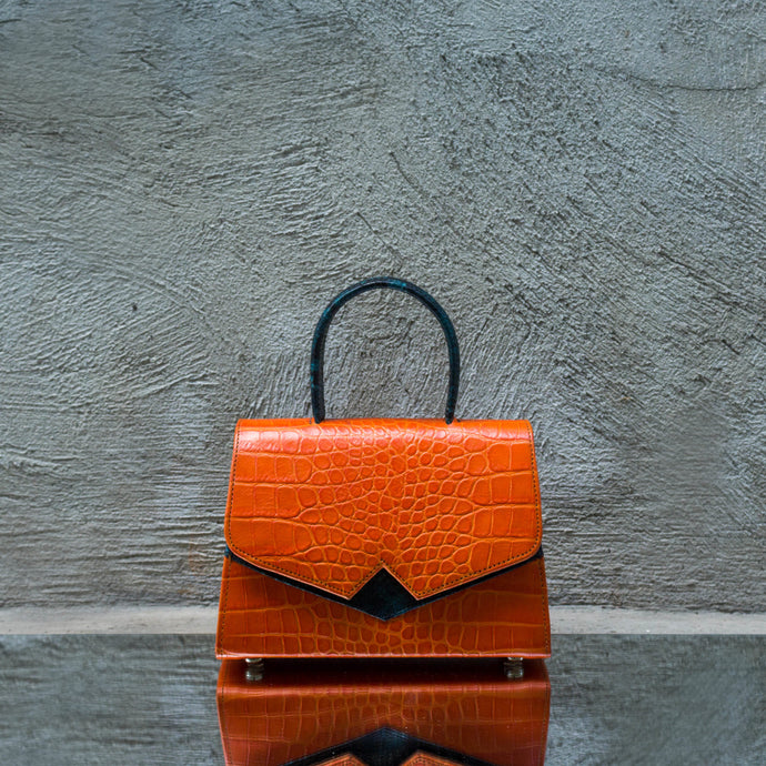 Orange Crocodile Print Leather Handbag