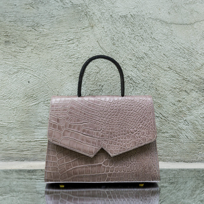 Mink Grey Crocodile Print Leather Handbag