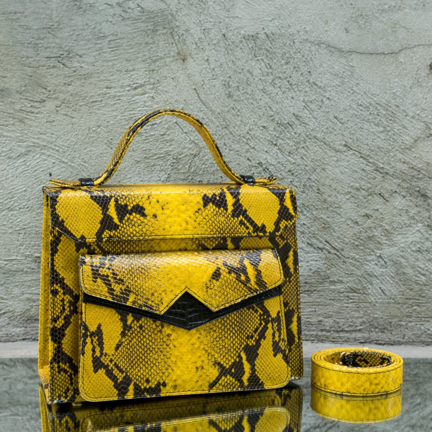 Mustard Yellow Python Print Leather Handbag