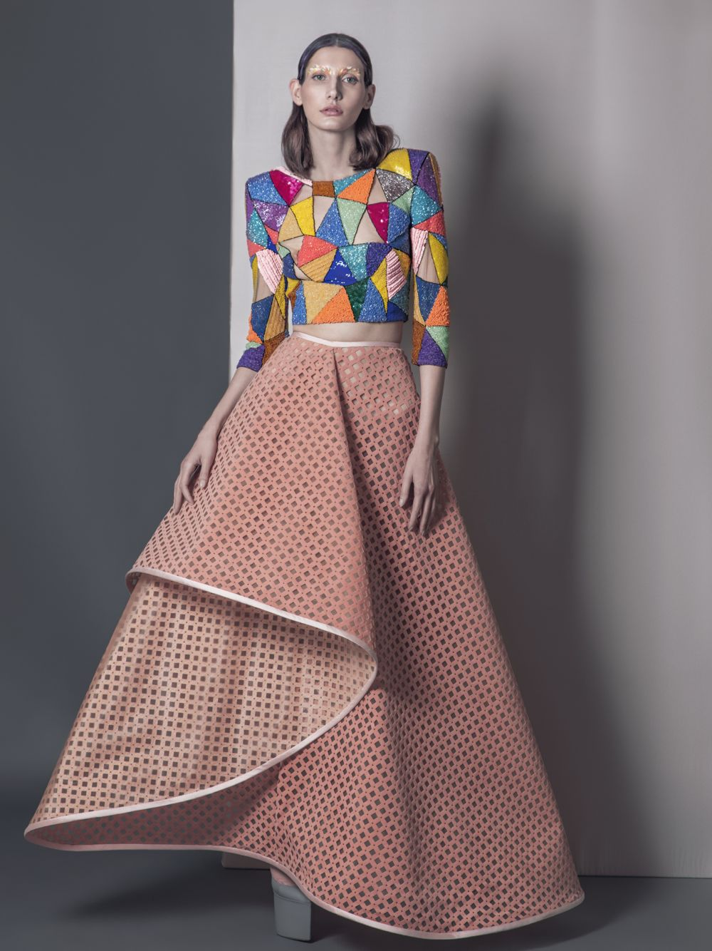 Embroidered Top & Engraved Ared Skirt
